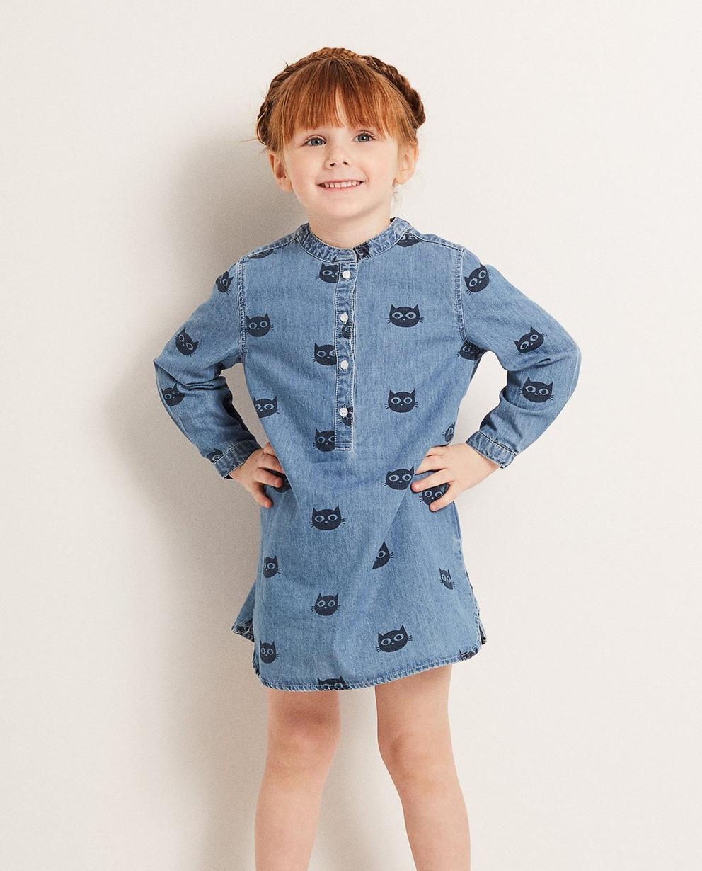 Kleider - AO1 - Jeanskleid mit Katzenprint